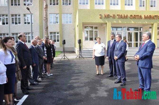 Təhsil naziri Biləsuvarda məktəb açılışında iştirak edib