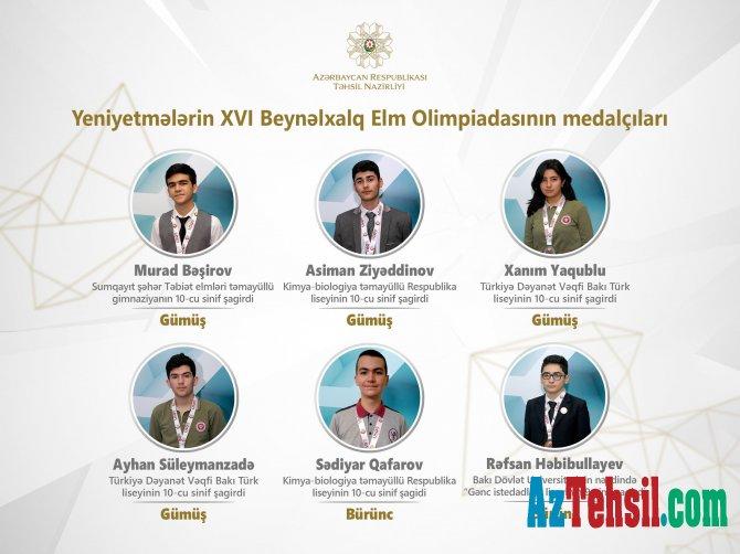 Yeniyetmələrin XVI Beynəlxalq Elm Olimpiadasının medalçıları
