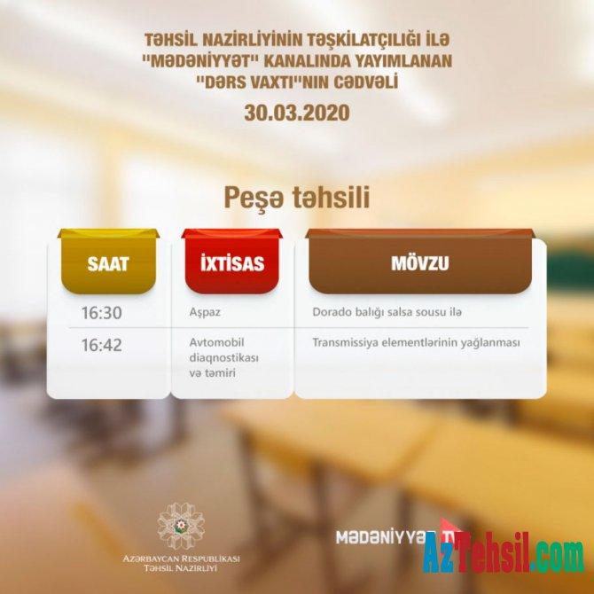 Peşə təhsili üzrə teledərslərə start verilir - CƏDVƏL