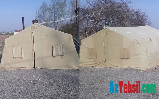 Ağdamda dərslər çadırda keçirilib