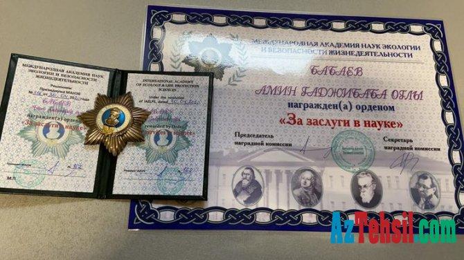 Azərbaycanlı alim beynəlxalq ordenlə təltif edildi