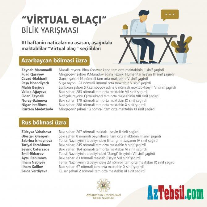 """III  """"Virtual əlaçı"""" bilik yarışmasının nəticələri"""
