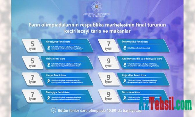 Respublika fənn olimpiadalarının final mərhələsi keçiriləcək