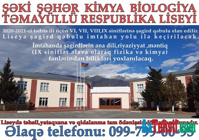 Kimya Biologiya təmayüllü Respublika liseyini seçin məqsədinizə çatın.