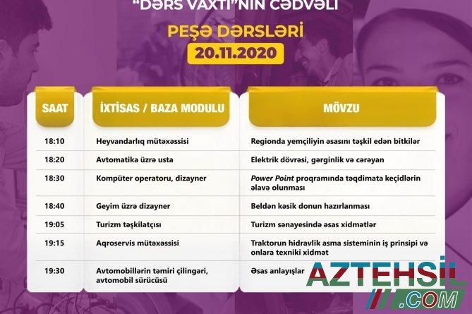 """Peşə təhsili üzrə """"Dərs vaxtı""""nın noyabrın 20-nə olan cədvəli"""