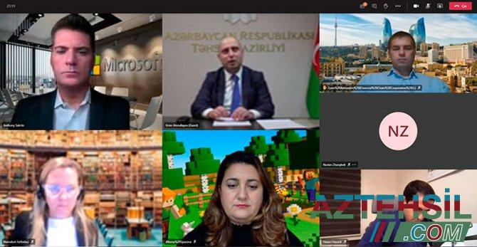 """Təhsil naziri """"Microsoft"""" korporasiyasının rəhbərləri ilə videokonfrans keçirib"""