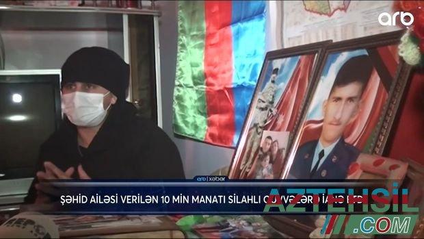 Şəhid ailəsi 10 min manatlıq müavinəti fonda bağışladı - VİDEO