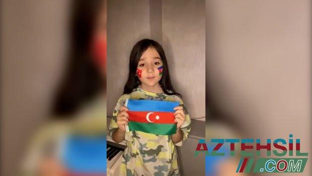 Firdovsi Umudovun 9 yaşlı qızı Ayşən Azərbaycan hərbiçilərini təbrik etdi - VİDEO