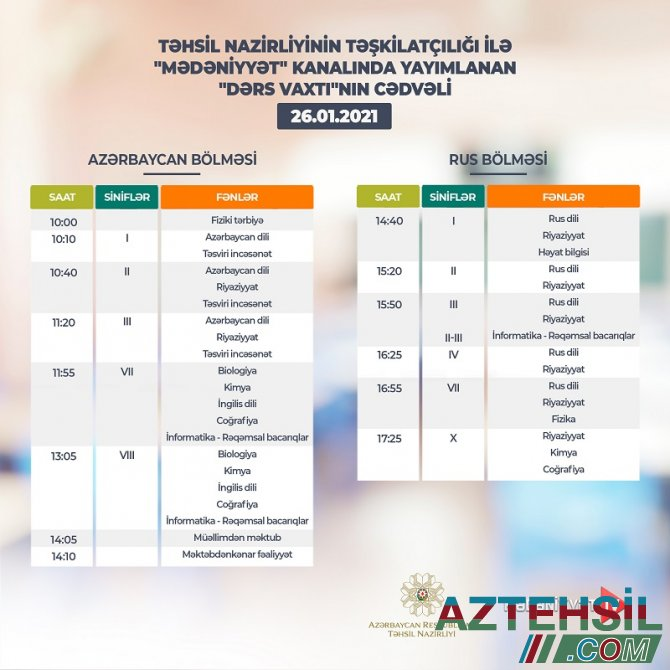 """""""Dərs vaxtı""""nın 26 yanvar cədvəli"""