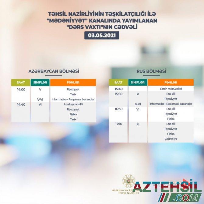 """""""Dərs vaxtı""""nın 3 may cədvəli"""