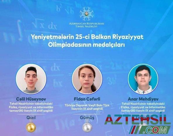IX sinif şagirdi Yeniyetmələrin 25-ci Balkan Riyaziyyat Olimpiadasında qızıl medal qazanıb