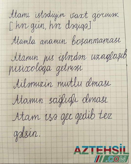 Azərbaycanda valideynləri boşanan uşağın TÜKÜRPƏDƏN MƏKTUBU - FOTO