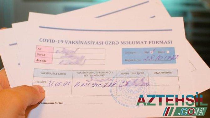 """Bu gündən vaksinasiya ilə bağlı """"Əks göstəriş sertifikat""""ının verilməsinə başlanılır"""